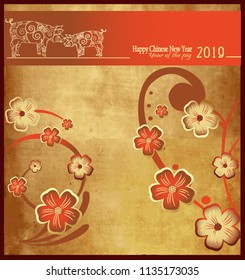 Happy Chinese New Year 2019 year of the pig. Zodiac sign for greetings card,
