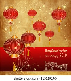 Happy Chinese New Year 2019 year of the pig. Zodiac sign for greetings card,Background with Chinese lanternes