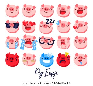 Happy chinese new year 2019 Zodiac sign calendar with pig emoji, emoticons pink colorful funny characters piglet. Vector illustration.