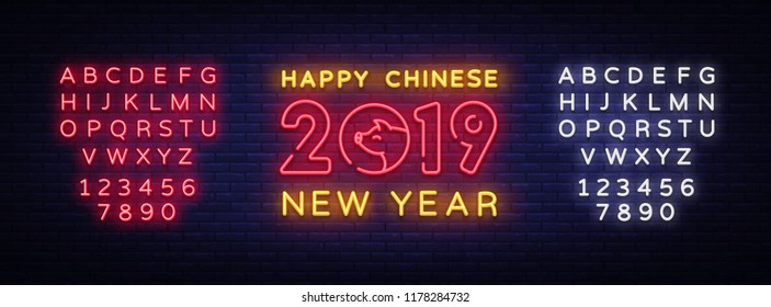 Happy Chinese New Year 2019 Design Template Vector Of Pig Greeting Card