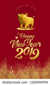 Happy Chinese New Year 2019 year of the pig 3D low poly style. Chinese character mean Happy New Year, wealthy, Zodiac sign for greetings card, flyers, invitation, posters, brochure, banners, calendar.
