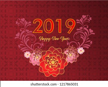 Happy Chinese New Year 2019 year of flower paper cut style. Chinese characters mean Happy New Year, wealthy, Zodiac sign for greetings card, flyers, invitation, posters, brochure, banners, calendar.