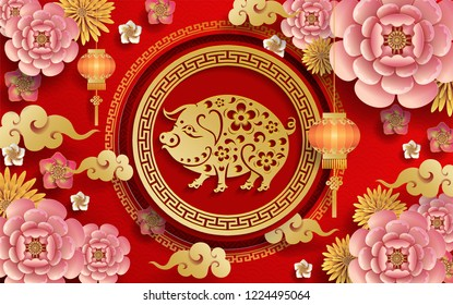 Happy chinese new year 2019 Zodiac sign with gold paper cut art and craft style on color Background.