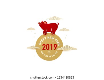 Happy chinese new year 2019 with lucky pig standing at the sun. Isolated concept for holiday greeting design for the decoration of gift certificates, banners and flyer. Vector illustration.