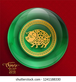 Happy chinese new year 2019 Zodiac sign with gold, jade stone paper cut art and craft style on color Background.(Chinese Translation : Year of the pig)
