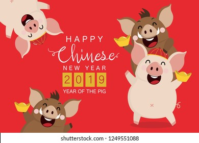 Happy Chinese new year 2019 greeting card with cute pig and boar. Animal cartoon character. Calligraphy hand written
