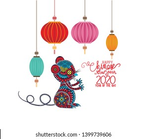 Happy Chinese new year 2019, year of the rat with cute cartoon rat and gifts. Chinese wording translation happy Chinese new year