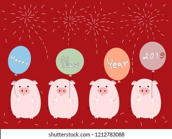 Happy Chinese new year 2019,Chinese symbol of 2019 with four pigs holding balloon in red background,Vector illustration cute pigs cartoon with text balloon happy new year for card, cover and banner