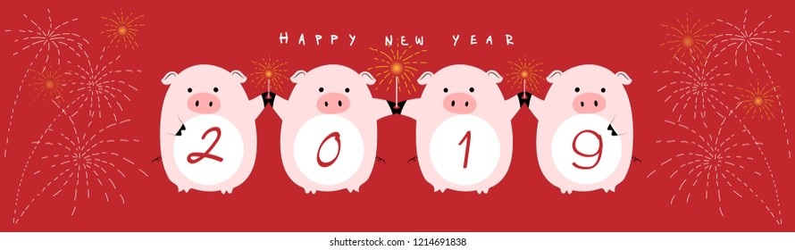 Happy Chinese new year 2019,Chinese symbol of 2019 with four pigs holding sparkler in red background,Vector illustration cute pigs cartoon with happy new year for card, cover and banner