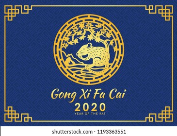 Happy chinese new year 2020 (Gong Xi Fa Cai) card with gold rat zodiac under tree circle sign and blue chinese texture background vector design