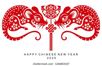 Happy chinese new year 2020 Zodiac sign with rat paper cut art and craft style on color Background.( Chinese Translation : Year of the rat )