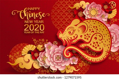 Happy chinese new year 2020 Rat zodiac sign,flower and asian elements with gold paper cut art craft style on color Background for greetings card, invitation. (Translation : Happy new year)