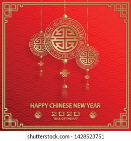 Happy chinese new year 2020 Zodiac sign, year of the rat, with oriental asia elements on red background and gold frame (Chinese Translation : happy new year, year of rat)