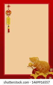 Happy chinese new year 2020 .Gold rat with Mumeplant Japanese Apricot graphics design art highly detailed in chinese style.Year of rat (Chinese translation : Happy new year)