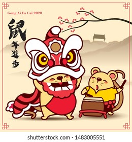 Happy Chinese New Year 2020. The year of rat. Lion dance and little rat playing drum. Translation: Get improvement in year of rat - vector