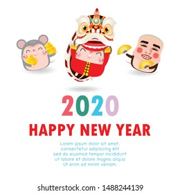 Happy Chinese new year 2020 of the rat zodiac poster design with rat, firecracker and lion dance man with smile mask. greeting card red color isolated on white Background, Translation: Happy New Year