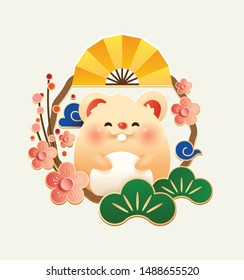 Happy Chinese New Year 2020 the year of the rat. Cute rat with plum blossom and golden folding fan frame