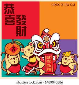 Happy Chinese New Year 2020. The year of the rat. Cute little rats with colourful signboard Gong Xi Fa Cai lettering. Translation: Gong Xi Fa Cai  - Vector