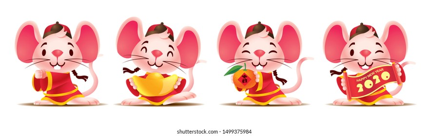 Happy Chinese New Year 2020. Cartoon cute mouse set with traditional chinese costume. The year of rat. Translation: lucky (Orange) - Vector