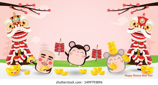 Happy Chinese new year 2020 of the rat zodiac poster design with rat, firecracker and lion dance man with smile mask. greeting card isolated on Background,