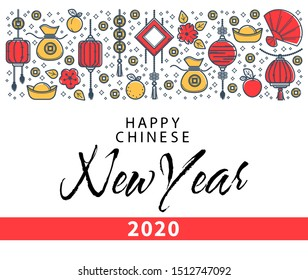 Happy Chinese New Year 2020 banner, wealth and luck symbols vector. Gold lucky coins and money sack, flowers and fruits on postcard. Peach and apple, lemon, oriental holiday symbolic objects