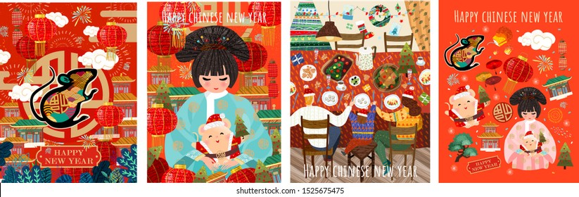 Happy Chinese New Year! 2020 is the year of the rat. Vector japanese or korean illustrations for asian holiday: mouse, geisha woman in kimono with santa claus, family celebrates christmas at the table
