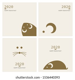 Happy Chinese New Year 2020 Year of the rat for greetings card, flyers, invitation, posters, brochure, banners, calendar.