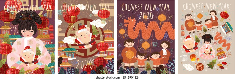 Happy Chinese New Year! 2020 is the year of the rat. Vector japanese or korean illustrations for asian holiday: mouse, geisha woman in kimono with santa claus, family celebrates new year