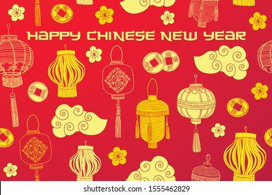 Happy Chinese new year 2020 greeting card.  Traditional red greeting card illustration with traditional asian decoration.