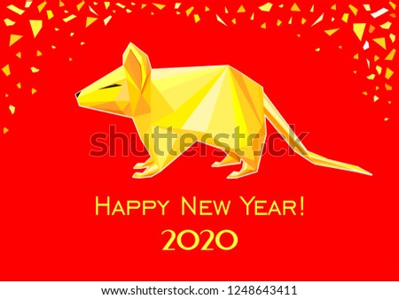 happy chinese new year 2020 greeting card celebration red background with gold rat and