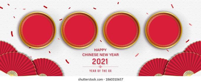 Frohes chinesisches neues Jahr 2021 Banner-Hintergrund mit leeren roten Kreise für Ihre Texte oder Bilder