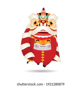 Happy Chinese new year 2022 the year of the tiger, cute Little tiger performs Lion Dance, greeting card zodiac Cartoon vector illustration isolated on white background