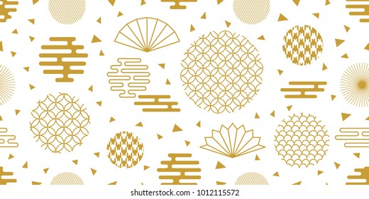 Happy Chinese New Year background. Seamless white and golden pattern with ornate circles, fans and other geometric elements.
