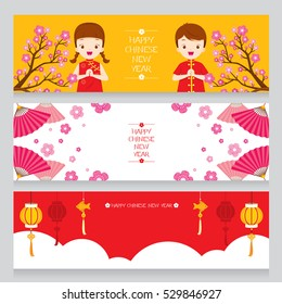 Happy Chinese New Year Banners Set, Traditional Celebration, China, Children, Nature, Flower