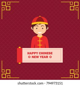 Happy Chinese New Year with Chinese Boy