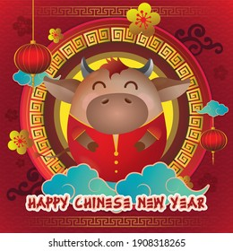 Happy Chinese New Year, Year of The Bull with Cute Character Vector Illustration