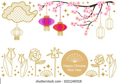happy chinese new year card colorful abstract ornate circles clouds origami wildflowers and