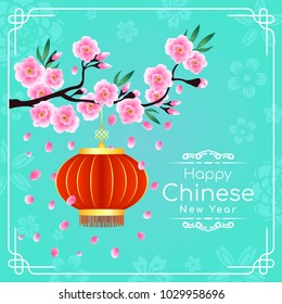 Happy chinese new year card with pink peach blossom branch and red and gold chinese lantern on blue green  background vector design
