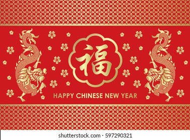 Happy Chinese new year card is Twins Gold china dragon and  Chinese word mean blessing