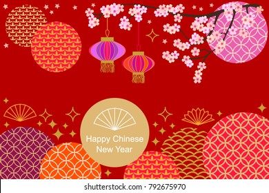 happy chinese new year card colorful abstract geometric ornaments blooming flowers and oriental lanterns