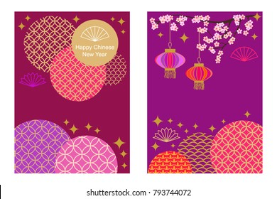 Happy Chinese New Year cards set. Colorful abstract geometric ornaments, blooming flowers and oriental lanterns on purple background. Template for banners, posters, party invitations, calendars.