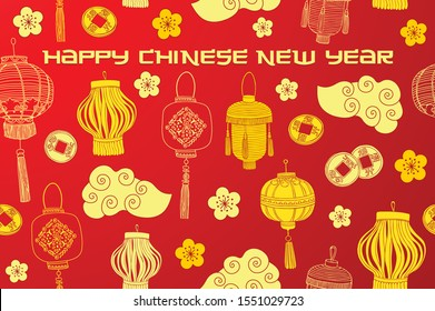 Happy chinese new year card.Vector illustration. Flat style design. Concept for holiday banner, decor element.