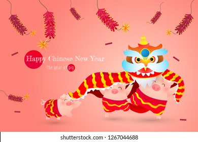 Happy Chinese New Year with celebration lion dance with firecrackers frame.The year of the pig. Happy moment. Design in Eps10 Vector illustartion.