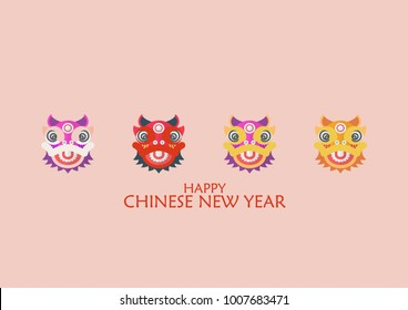 Happy chinese new year with Dancing lions. Vector illustration