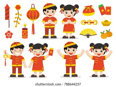Happy Chinese New Year decoration collection. Cute Chinese kids with labels and icons elements. Vector illustration.