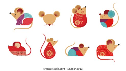 Happy Chinese new year design. 2020 Rat zodiac. Cute mouse cartoon collection. Vector illustration and banner concept in flat style