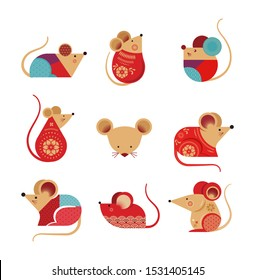 Happy Chinese new year design. 2020 Rat zodiac. Cute mouse cartoon. Vector illustration and banner concept