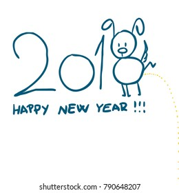 Happy Chinese New Year design, cute dog peeing - vector illustration sketch