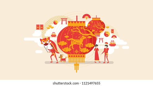 Happy Chinese New Year Dog Year Celebration Tiny People Character Concept Vector Illustration, Suitable For Wallpaper, Banner, Background, Card, Book Illustration, And Web Landing Page