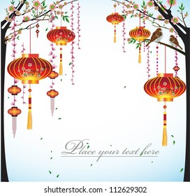 Happy Chinese New Year Flower Lanterns with the sky background illustration